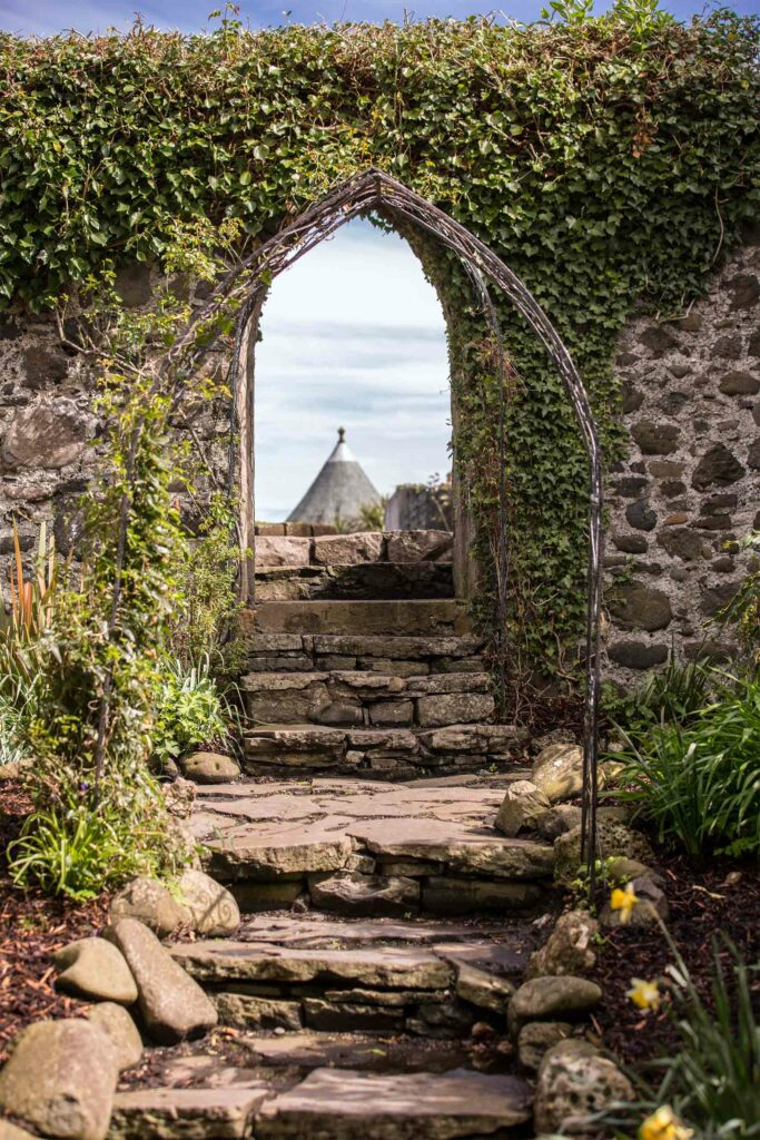 Walkway in the gardens at Ballygally Castle Hotel, Northern Ireland