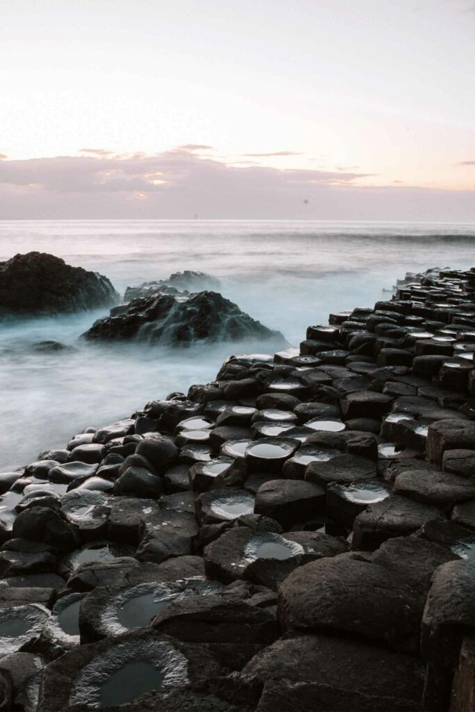 Unique rock formations at Giants causeway, Northern Ireland