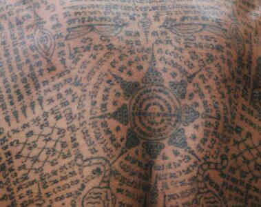 Sak yant tattoo at The Siam Bangkok, Thailand