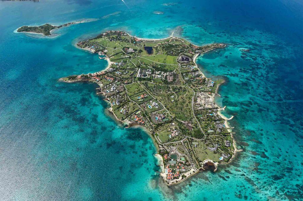 Aerial view of Jumby Bay Island, Antigua