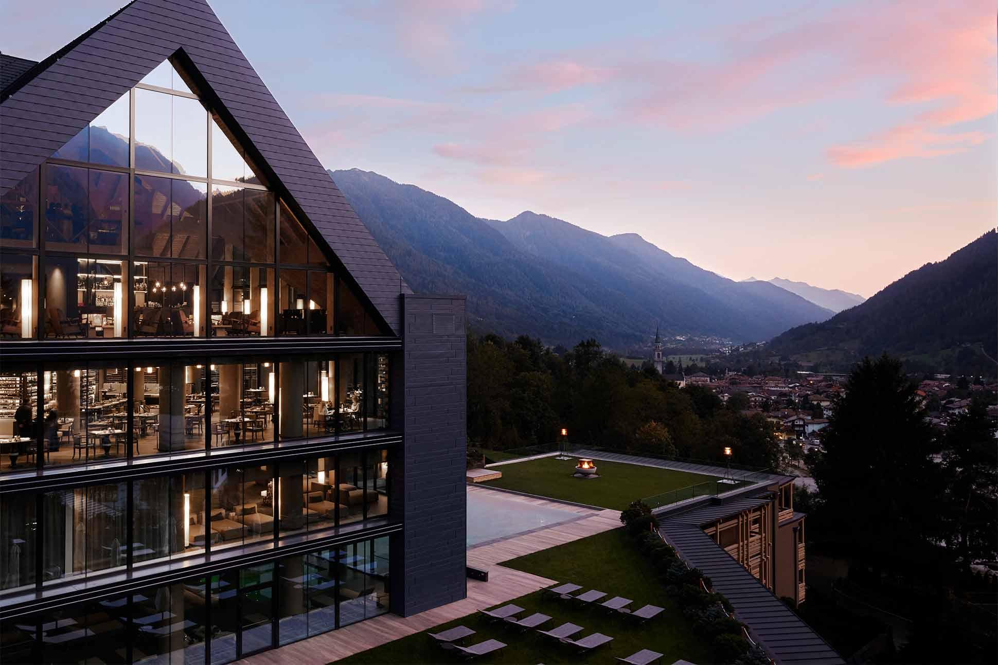 Exterior view of Lefay Resort and SPA Dolomiti, Trentino, Italy