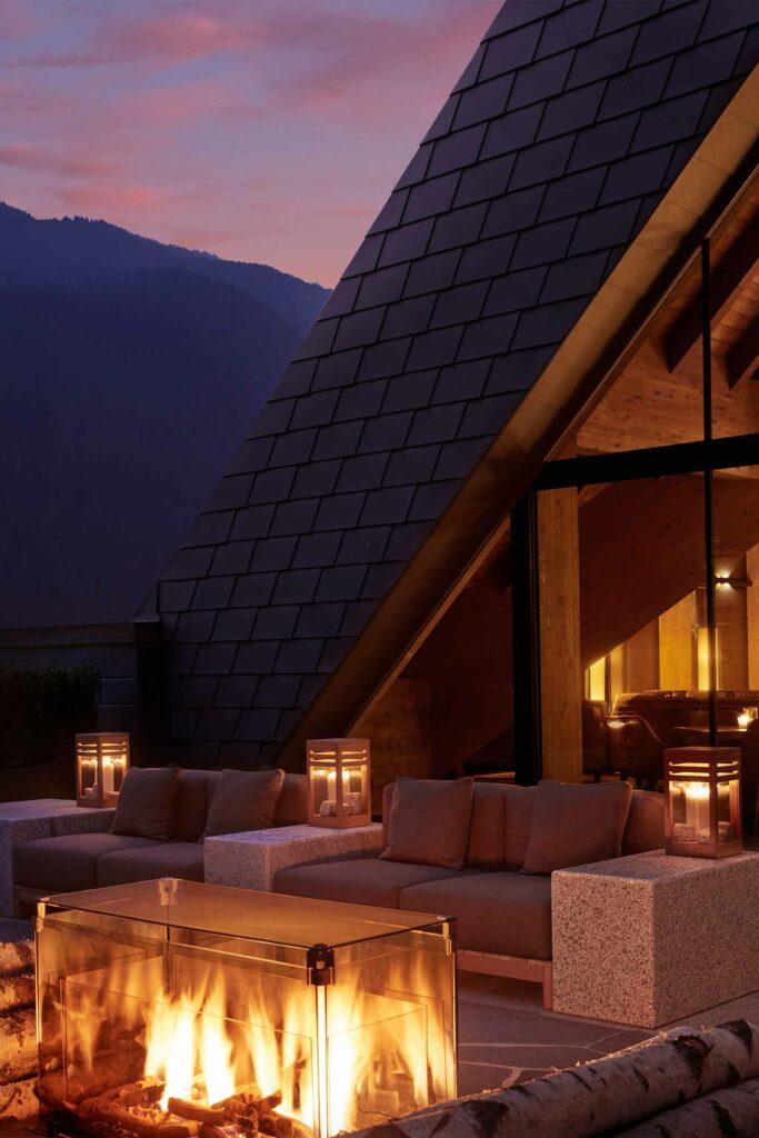 Rooftop bar at Lefay Resort and SPA Dolomiti, Trentino, Italy