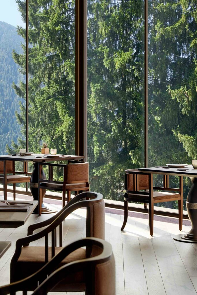 Dining with a view at Lefay Resort and SPA Dolomiti, Trentino, Italy