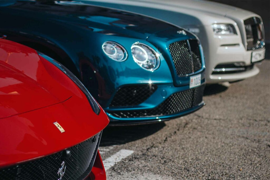Luxury cars parked outside a Monacan casino