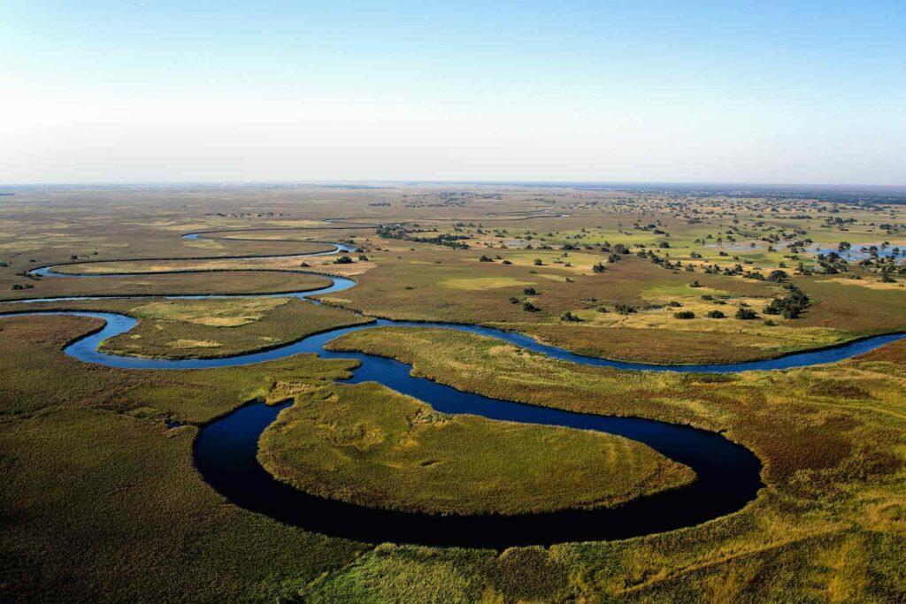Aerial view of the Okavango River, Botswana
