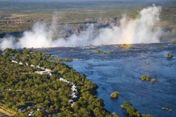 Aerial of the Anantara Royal Livingstone Hotel, Zambia