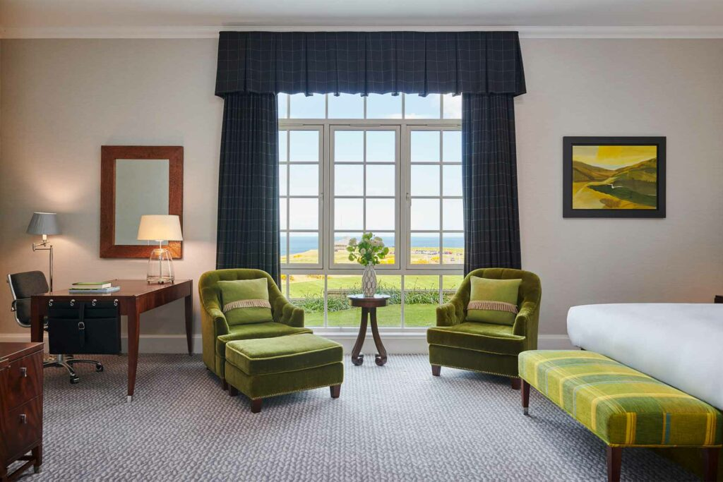 Bedroom with a view at Fairmont St Andrews, Scotland