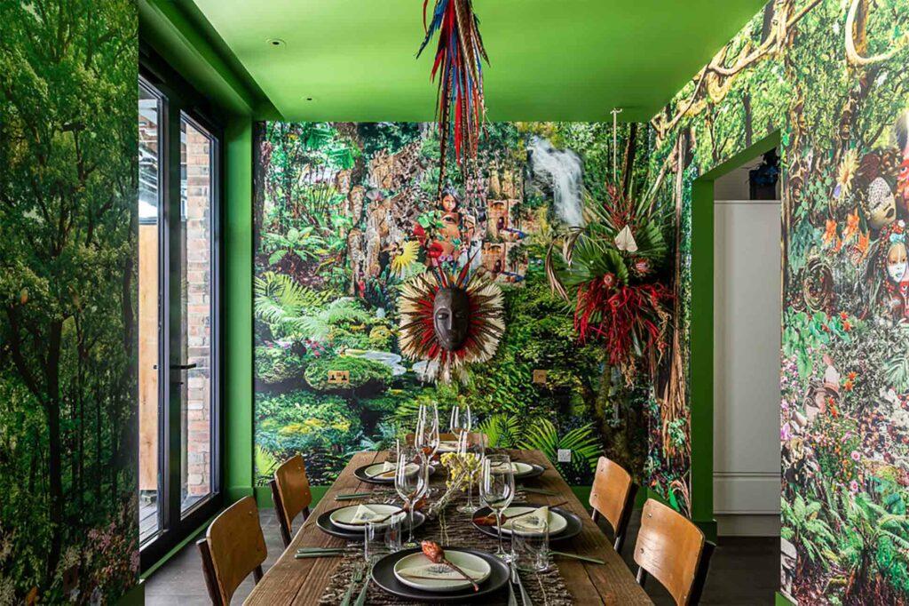 Interior of Bushra Fakhoury cabana part of The Mandrake artist cabanas, London, UK