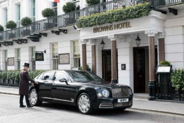Exterior of Brown's Hotel, London, United Kingdom