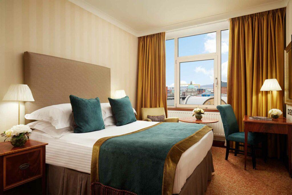 Bedroom at the Europa Hotel, Belfast, Northern Ireland, United Kingdom