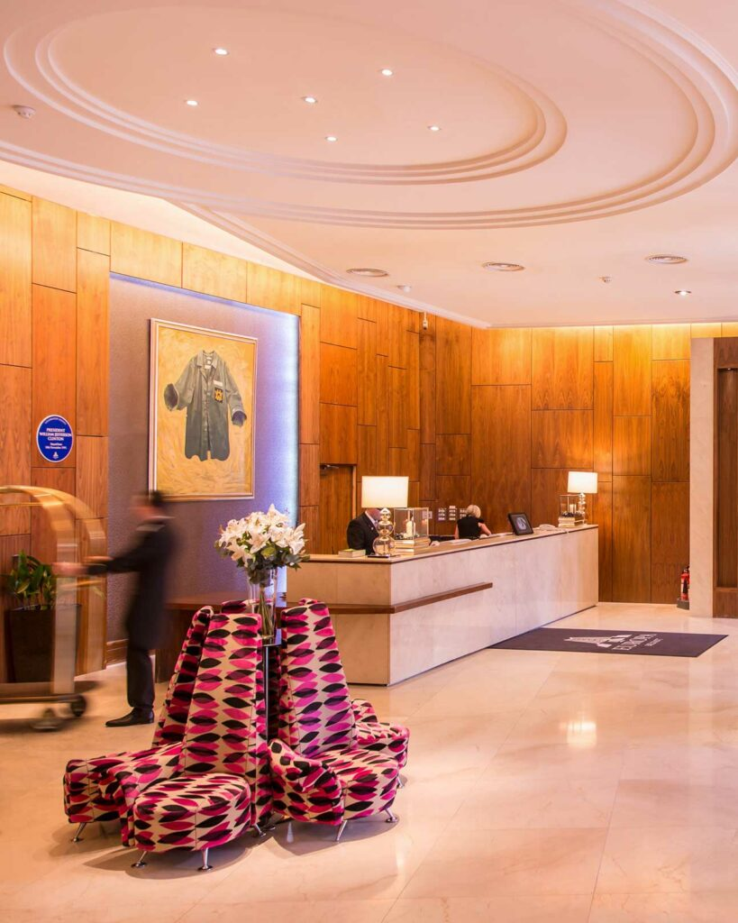 Lobby at the Europa Hotel, Belfast, Northern Ireland, United Kingdom