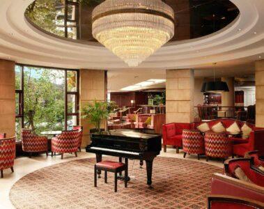 Piano at the Europa Hotel, Belfast, Northern Ireland, United Kingdom