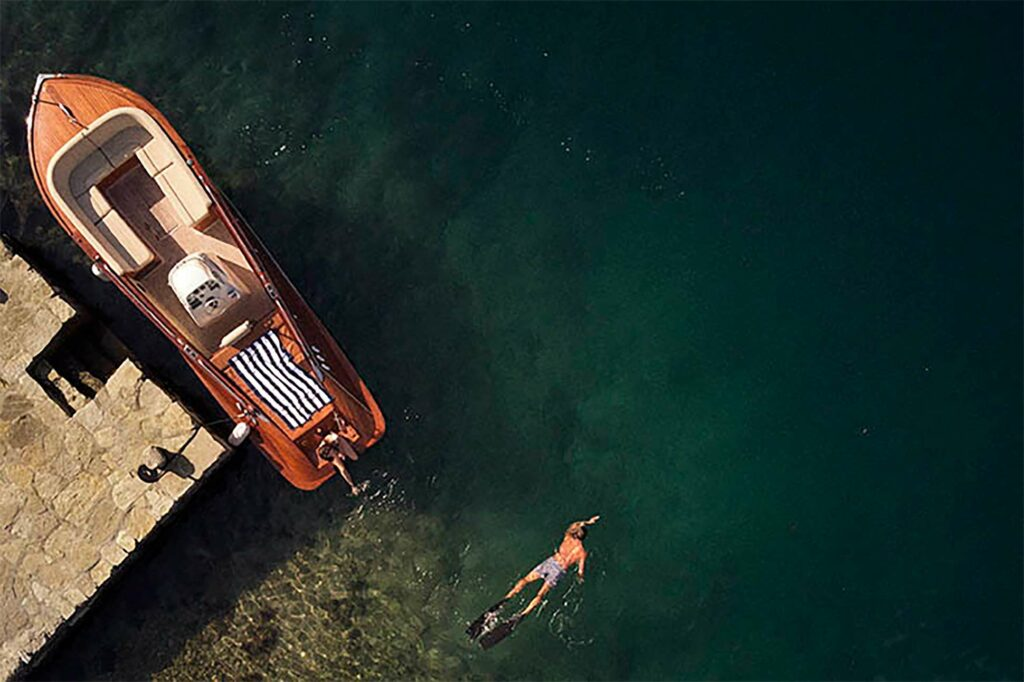Swimming in the bay outside One&Only Portonovi, Montenegro