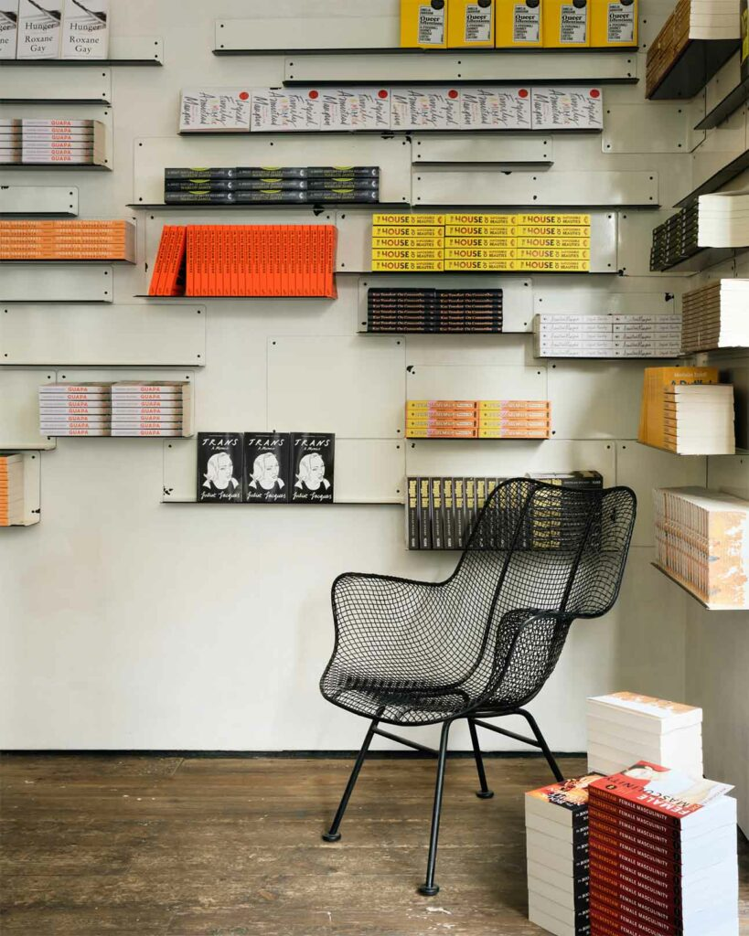 Reading corner at Aesop queer library, London, United Kingdom