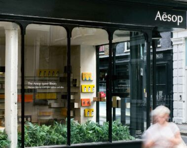 Exterior of Aesop queer library, London, United Kingdom