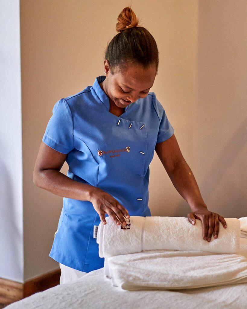 A massage therapist at The Retreat in Nairobi, Kenya