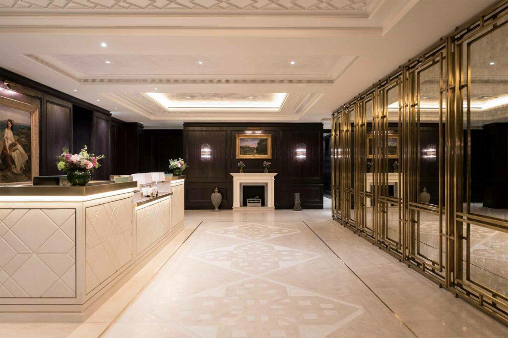 Reception area at The Lanesborough Club & Spa, London, UK