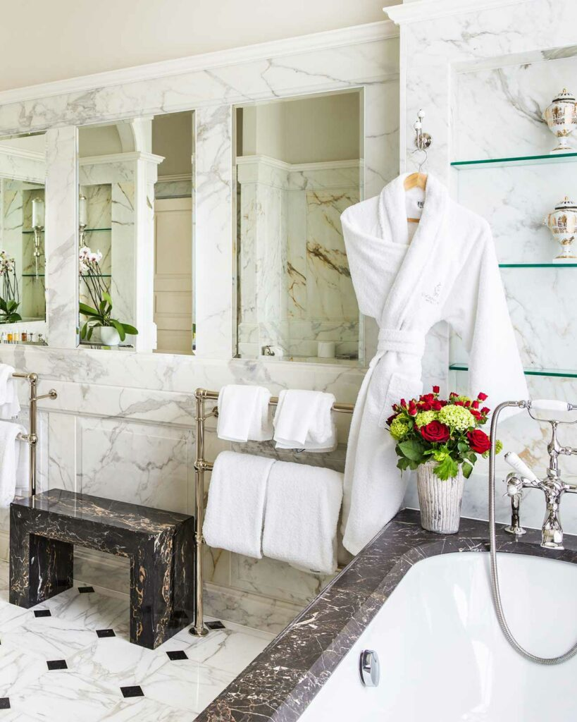 Grand Master Suite Coral Bathroom at Lucknam Park, Wiltshire, United Kingdom